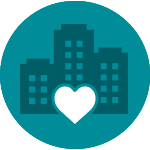 Corporate buildings with a heart icon